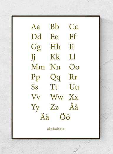 Alphabet text poster, olive, starting at 7.90€