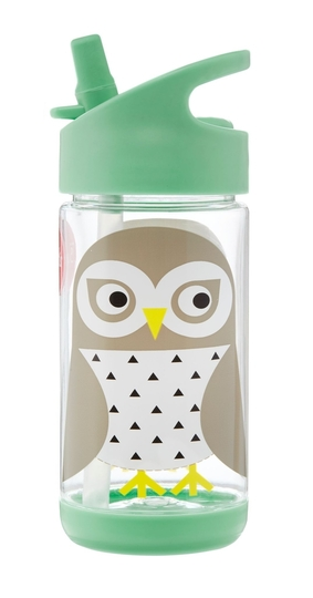 3 Sprouts children's drinking bottle owl, mint