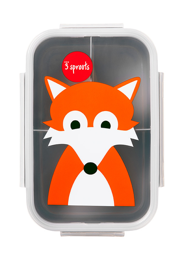 3 Sprouts children's lunch box fox, grey