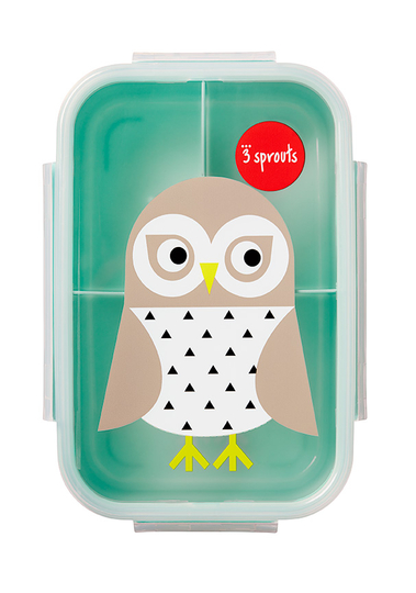 3 Sprouts children's lunch box owl, mint