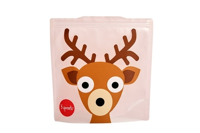 3 Sprouts reusable sandwich bag deer, light pink, set of 2