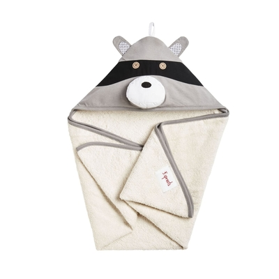 3 Sprouts towel with a hood, grey raccoon