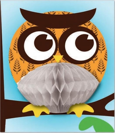 3D card with unfolding silk paper, orange owl