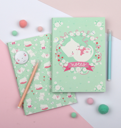 A Little Lovely Company A5 notebook, cat, set of 2