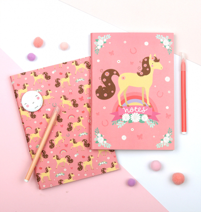 A Little Lovely Company A5 notebook, horse, set of 2
