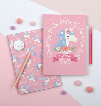 A Little Lovely Company A5 notebook, unicorn, set of 2