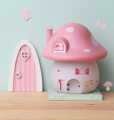 A Little Lovely Company nightlight, light pink mushroom house