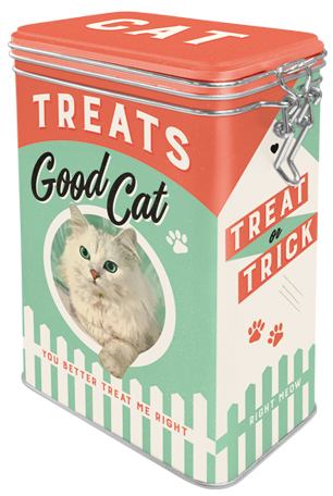"A tin can with a clamp ""Cat Treats"""