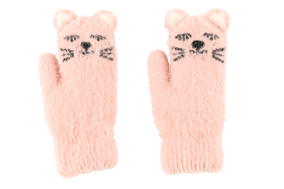 Acces child's Cat mittens, light pink