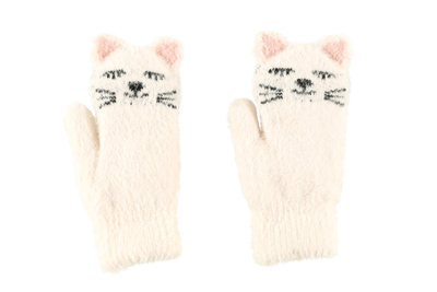 Acces child's Cat mittens, white