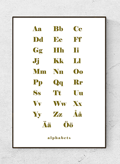 Alphabet text poster, bold olive, starting at 7.90€