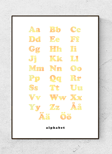 Alphabet text poster, soft yellow, starting at 7.90€