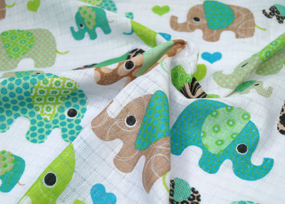 Baby's patterned diaper gauze/ diaper cloth, Elephant, blue/green
