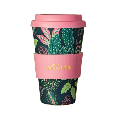 Bamboo take away mug, Colorful leaves