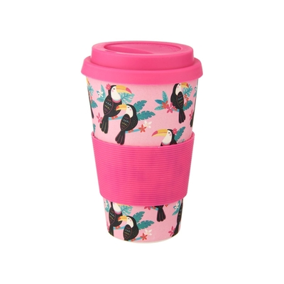Bamboo take away mug, Tiki Toucan, pink