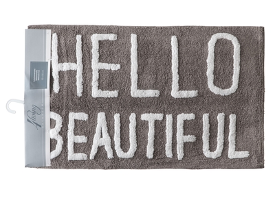 Bathroom rug, Hello beautiful, grey 50x80cm