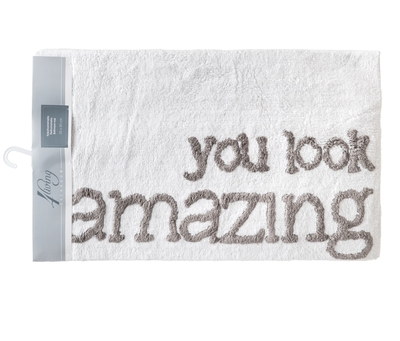 Bathroom rug, You look amazing, grey 50x80cm