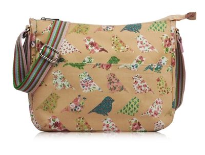 Big shoulder bag, Birds, pink