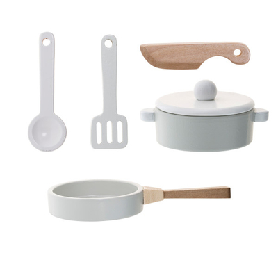 Bloomingville children's wooden pot and pan toy set