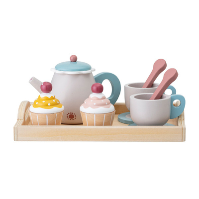Bloomingville children's wooden teapot and cupcakes toy set