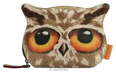 Book Owls wool coin purse