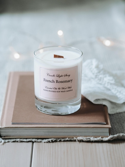 Candle Light Story Essentials Soy wax candle, French Rosemary