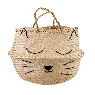 Cat's whiskers decor basket with handles