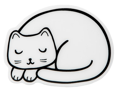 Ceramic cat table coaster, set of 4, Cutie Cat Nap