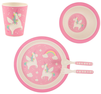 Child's dinnerware set, bamboo, Rainbow Unicorn