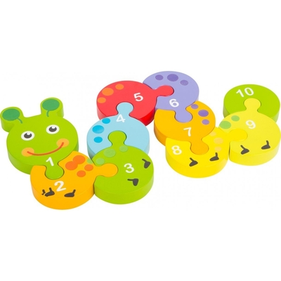 Children's caterpillar puzzle with numbers