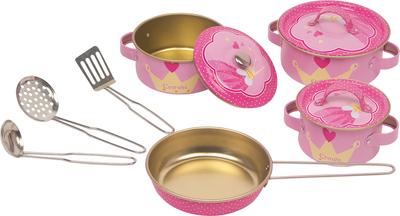 Children's cooking pot set, pink, 10 parts