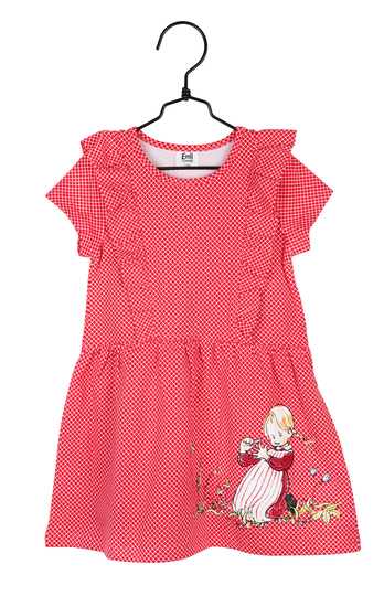 Children's frill dress Iida counting, red