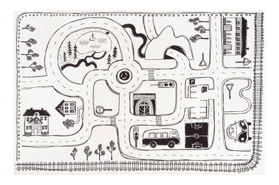 Children's traffic rug, black/white, 100x150cm