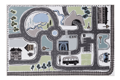 Children's traffic rug, blue/green, 100x150cm