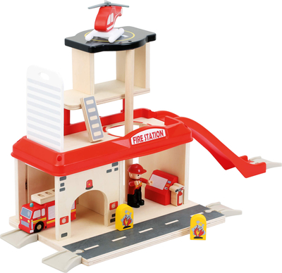 Children's wooden Fire station set
