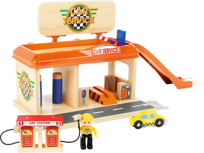Children's wooden auto repair shop and gas station