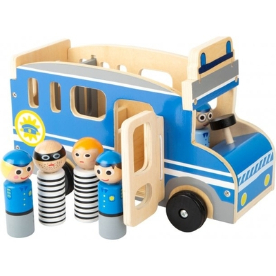 Children's wooden big police bus