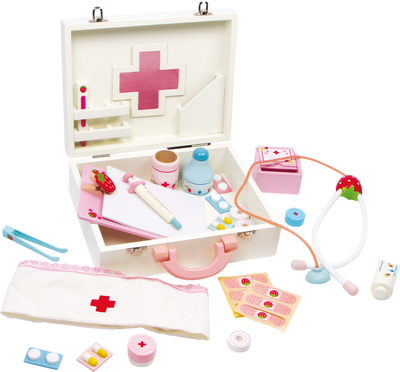 Children's wooden doctor's case with accessories