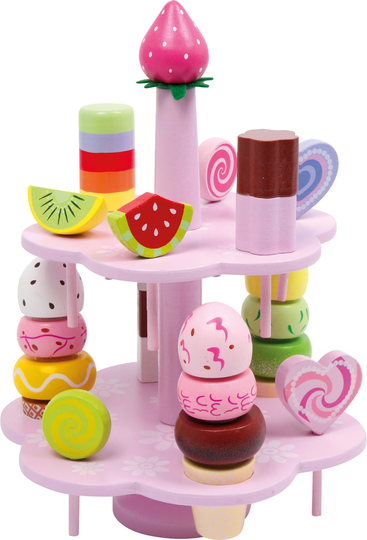 Children's wooden tiered sweets serving display platter, 2 floors, 13 parts