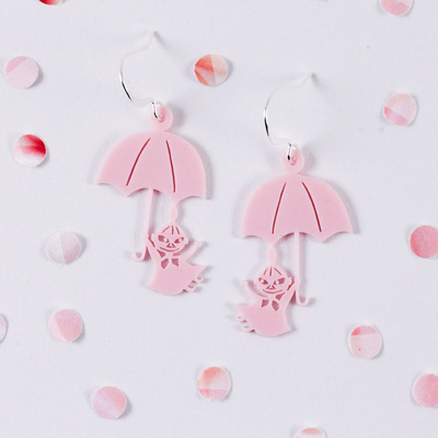 Coruu Little My and Umbrella earrings, light pink