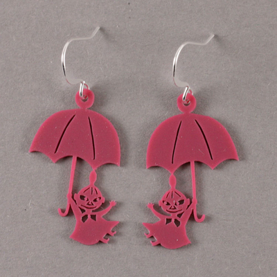 Coruu Little My and Umbrella earrings, raspberry red