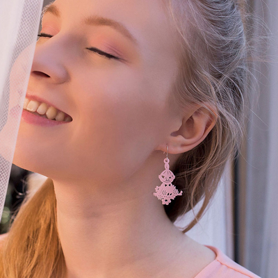 Coruu Little My in the Orchard earrings, rose-colored