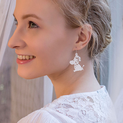 Coruu Moomintroll and flower bouquet earrings, white