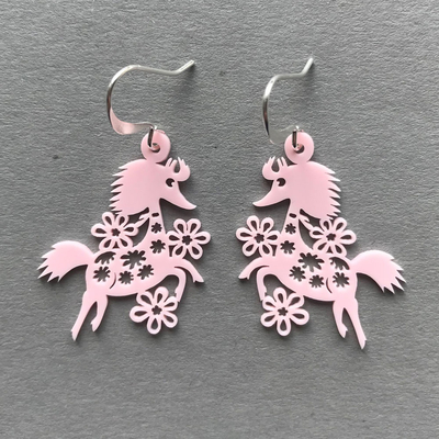 Coruu Primadonna's horse earrings, rose-color