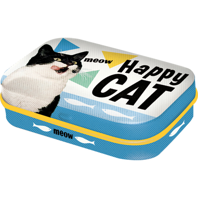 Cough drop tin box Happy Cat