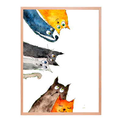 Curious cats watercolor poster starting at 9,90€