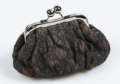 Day lace make up/ clutch bag, black