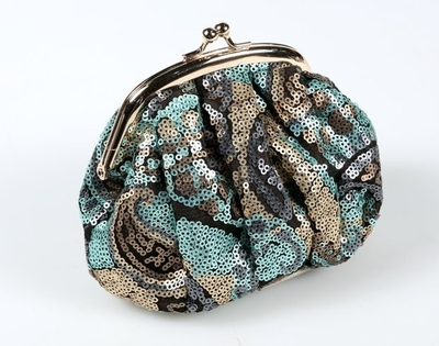 Day make up/ clutch bag with sequins, turquoise