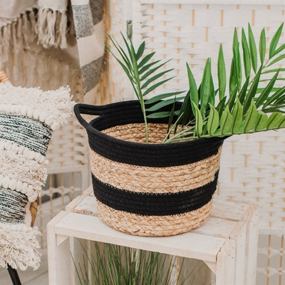 Decor basket striped, black