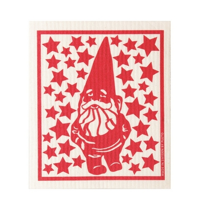 Dishcloth Christmas elf, red